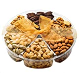 Gifts Basket-Healthy & Gourmet Snacks,Freshly Roasted 6 Mixed Nuts, Almonds, Pistachios, Cashews, Walnuts, Mixed Nuts, Honey glazed pecans