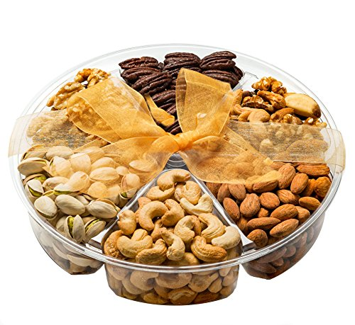 Gourmet Nuts Gift basket 6 Different delicious Freshly Roasted nuts . Vegetarian friendly! Perfect for any occasion! Sweet choice gift baskets(Jumbo)