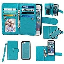 iPhone 5C Case, xhorizon TM SR Premium Leather Folio Case [Wallet Function] [Magnetic Detachable] Fashion Wristlet Purse Soft Flip Multiple Card Slots Case Cover for iPhone 5C - Blue