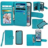iPhone 5C Case, xhorizon Premium Leather Folio Case [Wallet Function] [Magnetic Detachable] Fashion Wristlet Purse Soft Flip Multiple Card Slots Case Cover ZA5 for iPhone 5C - Blue