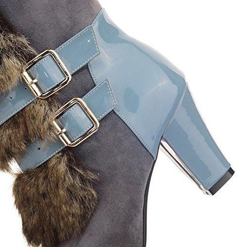 Allhqfashion Womens Low-top Pull-on Materiale Morbido Tacchi Tondi Stivali Chiusi Punta Blu