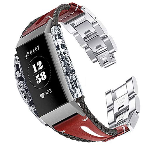 Woven Hand Mesh Bracelet - Dirance Fashion Unisex Exquisite Hand-Woven Strap Stainless Steel + Leather Wild Style Replacement Leather Wristband Bracelet (Red)