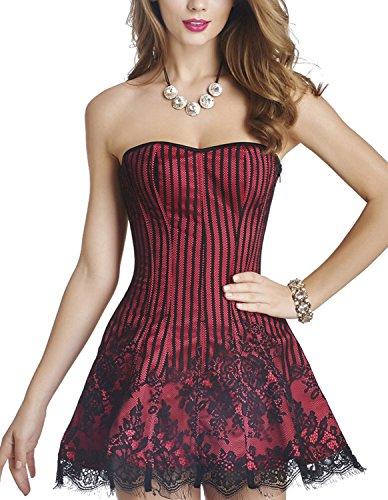 Burvogue - Corsé - para mujer Rosa Roja