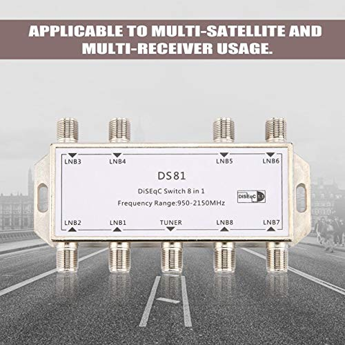 Satellite television receiver,DS81 8 in 1 Satellite Signal DiSEqC Switch LNB Receiver Multiswitch Heavy Duty Zinc Die-cast Chrome ()