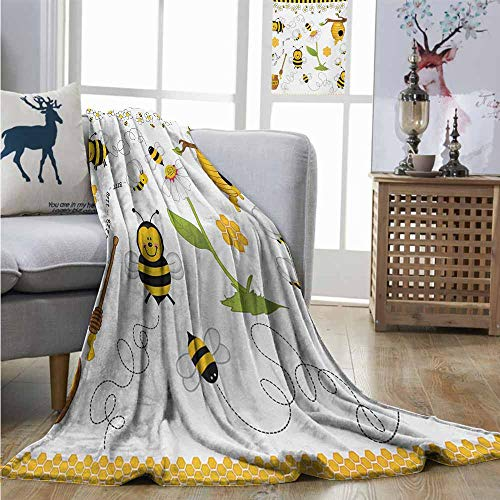 Throw Blanket Collage Flying Bees Daisy Honey Chamomile Flowers Pollen Springtime Animal Print Coverlet W60 xL80 Yellow White Black