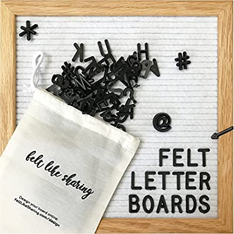 White Felt Letter Board 10x10 Inches. Changeable Letter Boards Include 300 Black Plastic Letters & Oak - Message Board Letter