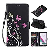 MEIRISHUN Fashion Floral Butterfly Embossed PU Leather Magnetic Flip Cover Card Holders Hand Strap protection case for LG G3 - Black