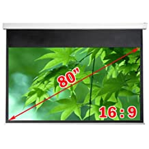 """Antra Electric Motorized 80"""" 16:9 Projector Projection Screen Matte White"""