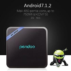 Android 7.1 TV Box,Pendoo X8 Mini 2GB+16GB Android Box Quad Core 64 Bits 2.4G WIFI H.265 4K (60Hz) Full HD TV Box