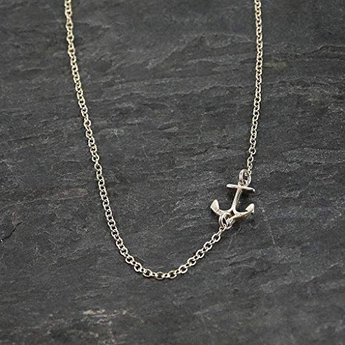 Sterling Silver Nautical Tiny Anchor Charm Pendant Chain Necklace