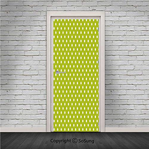 Retro Door Wall Mural Wallpaper Stickers,Vintage Old Fashioned 60s 70s Inspired Polka Dots Pop Art Style Art Print,Vinyl Removable 3D Decals 30.4x78.7/2 Pieces set,for Home Decor Lime Green and White ()