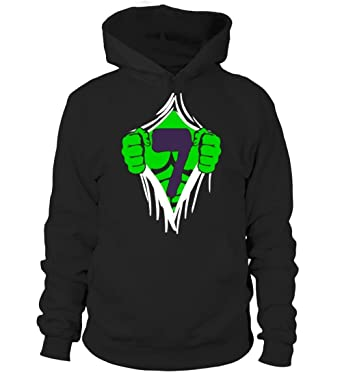 Green Man Chest Superhero Birthday Shirt For 7 Year Old Boys Unisex Hoodie