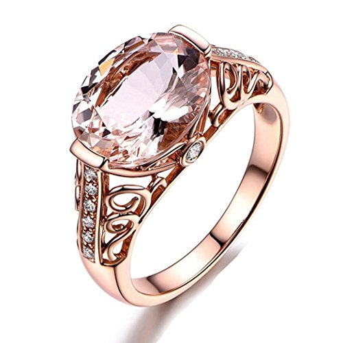 WensLTD Clearance! 2-in-1 Womens Vintage White Diamond Silver Engagement Wedding Band Ring Set (#8, Rose Gold)