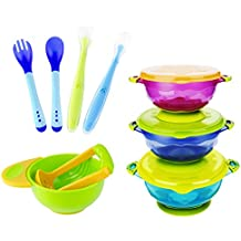 MICHEF Baby Bowls, Baby Feeding Bowls Set with Mash and Serve Bowl, 2 Hot Safe Spoon and Fork, 2 Soft-Tip Silicone Infant Spoons - Perfect Baby Shower Gift Set of 3 Spill Proof Suction Bowls with Lids