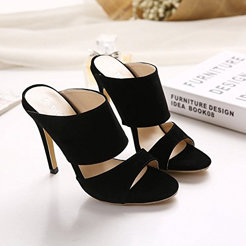 Women Ladies Open Toe High Heel Sandals Slippers Dress Evening Wedding Party Shoes Black STGCby