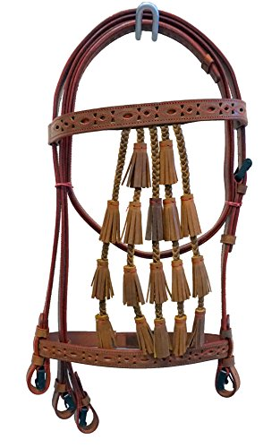 Equitem Spanish Vaqueros Leather Horse Bridle with Braided Bell Tassels and Red Color Cut-Out Detail