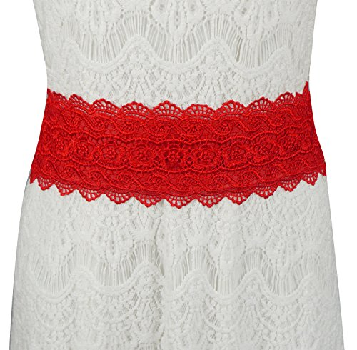 (Lovful Women's Bowknot Lace Self Tie Wrap Around Obi Waist Band Cinch Wide Boho Belt,Red)