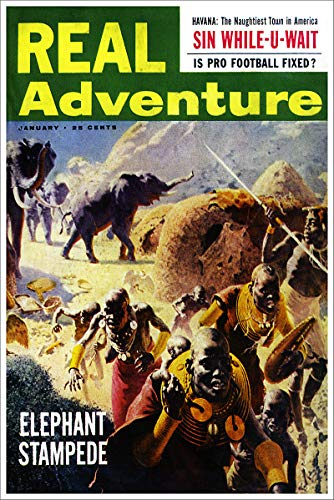 Real Adventure Elephant Stampede Vintage Pulp Magazine Cover Retro Art Poster - 24x36