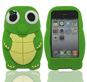 LETOiNG-4GJ16 Silicone Turtle Design Case / Skin / Cover for iPhone 4/4S-Green Color