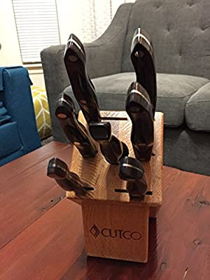 CUTCO Model 2007 Galley Set with Honey Oak Block.........Six High Carbon Stainless knives and one fork..............Classic Brown handles (sometimes called black)........... 1720 Paring Knife, 1721 Trimmer, 1724 Slicer, 1728 Petite Chef Knife, 1729 Petite