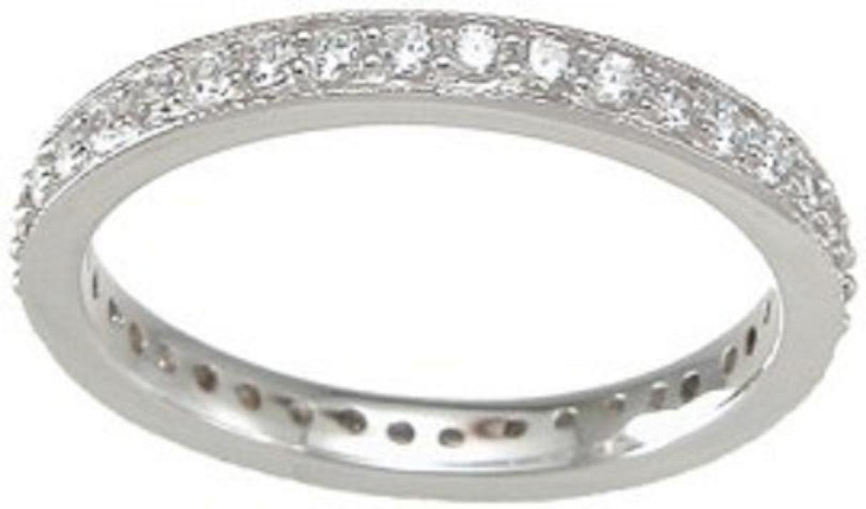 Sterling Silver Round Cubic Zirconia CZ Wedding Bridal Anniversary Eternity Band Ring Size 5