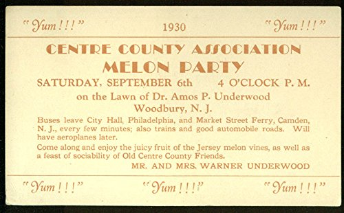 Centre Cty Assn Melon Party at Underwoods postcard invitation Woodbury NJ 1930 ()