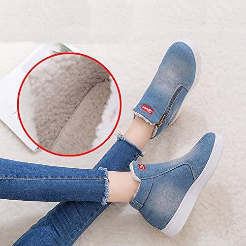 Tacchi Donna Basso Blu Singole Alti Shoes ragazza invernali Scarpe Caldo Bazhahei Stivaletti Casual boots autunno Neve Basse Moda Da Stivale Tacco Con Scarpa Denim Scarponi FwxnRRd74q