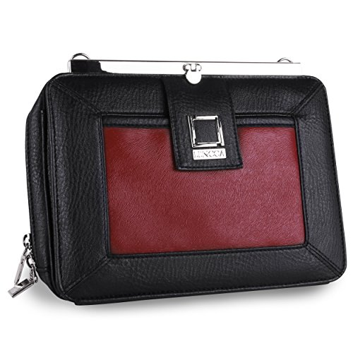 """Lencca Esvivina Collection Wallet & Tablet Carrying Case for Samsung Galaxy Tab 4 7.0 / Tab 4 8.0 / Tab S 8.4 / Tab Pro 8.4"""" Tablets (Black / Wine)"""