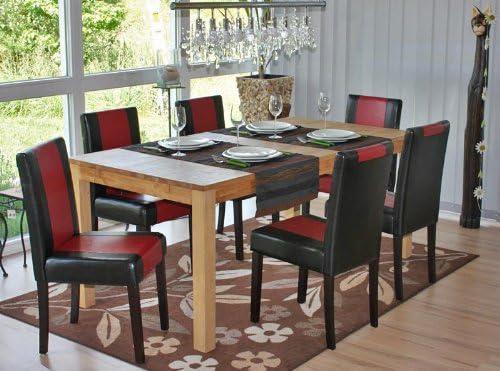 Mendler Lot de 4 chaises de séjour Littau, Simili-Cuir, Noir-Rouge, Pieds foncés