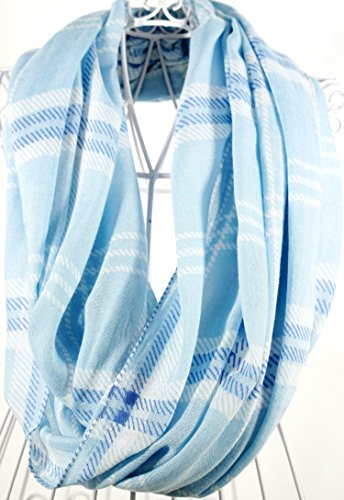 Pale Blue Plaid Infinity Scarf made in Massachusetts