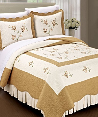 Home Soft Things Serenta Classic Gold Hawaiian Flowers 100% Cotton Bedspread Quilt Blanket 3 Pieces Bed Set, (Gold Hawaiian Quilt)