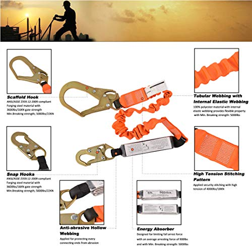 Single Leg 6-Foot Fall Protection Shock Absorber Stretch Safety Lanyard with Snap & Rebar Hook Connectors ANSI Z359.13-2013 Complaint by WELKFORDER (Image #4)