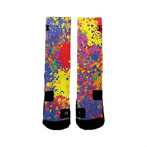 HoopSwagg Paint Splatter Custom Socks Extra-Large