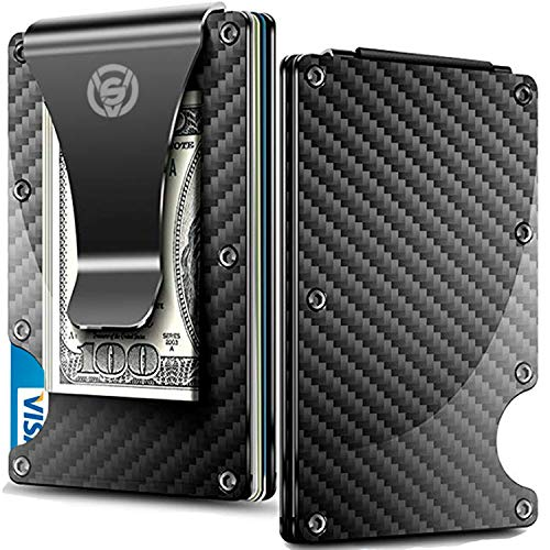 - Carbon Fiber Money Clip Wallet - Aluminum Credit Card Wallet RFID - Mens Minimalist Slim Credit Card Holder - 2019 Upgraded Version