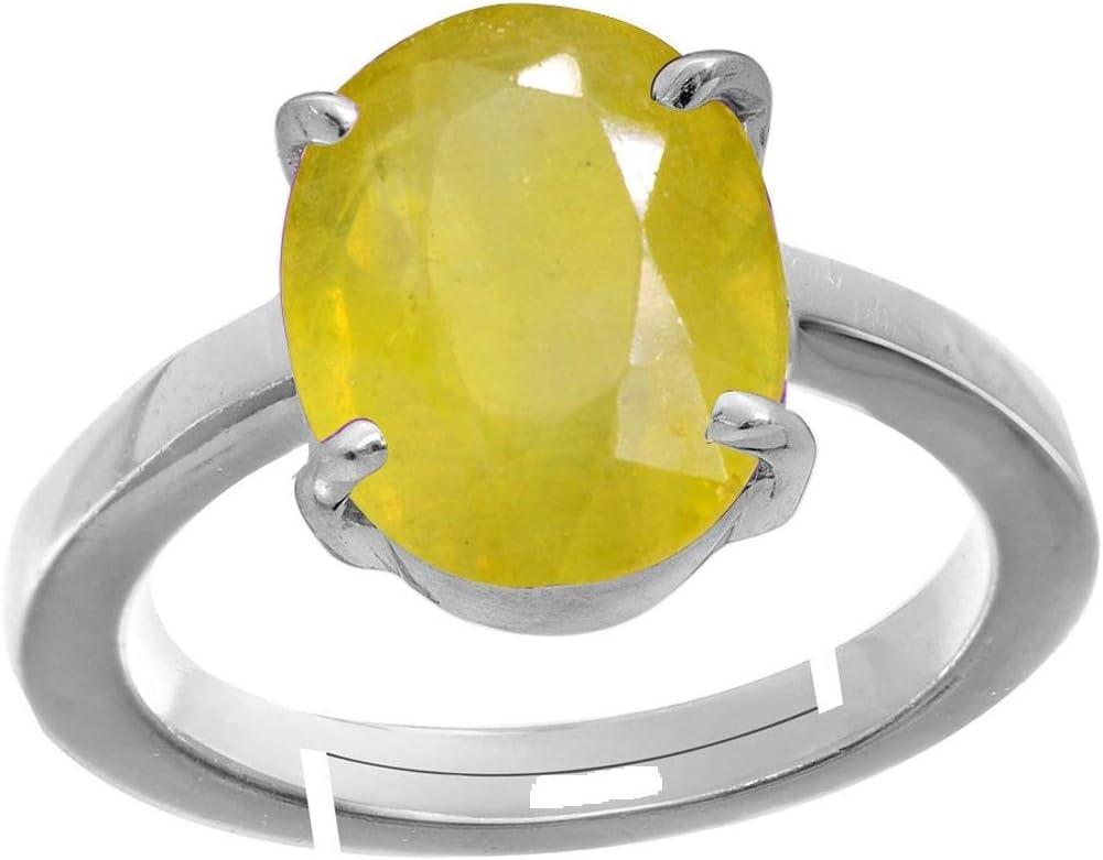 Royalmart 8.50 Ratti Natural Yellow Sapphire Gemstone Sterling Silver Adjustable Ring Men and Women Pukhraj