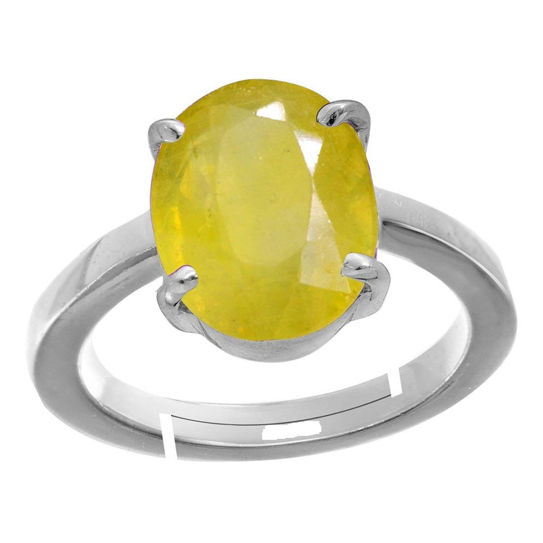 Gemstone Sterling Silver Adjustable Ring Men and Women Pukhraj Royalmart 10 Ratti Natural Yellow Sapphire