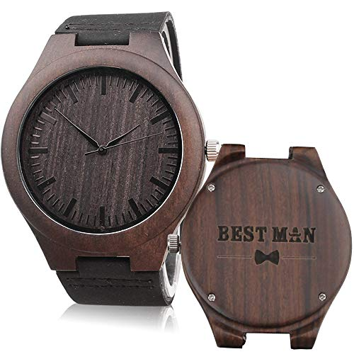 Engraved Best Man Wooden Watches Brown Leather Strap Casual Watch Will You Be My Best Man? Groomsmen Gifts for Wedding (Wedding Gift Ideas For Groom From Groomsmen)