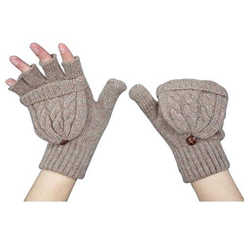 TININNA Damen Frau Winter Warme Strickt Fingerlose Handschuhe Fingerhandschuhe Mit Klappe Strickhandschuhe braun