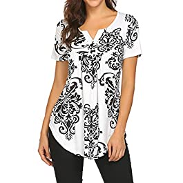 Women's Floral Printed Short Sleeve Henley V Neck T-Shirt Pleated Casual Flowy Tunic Blouse Tops
