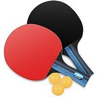 Raquetas de Tenis de Mesa por Lhedon,2 Palos de Tenis de Mesa Premium y 3 Practica Bolas de Ping Pong con Bolsa de Almacenamiento