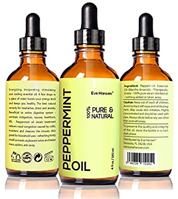 Top Rated Peppermint Oil by Eve Hansen - 4 fl.oz - Safe For Ingestion - 100% Natural & Undiluted! It Works or! Therapeutic Grade Essential Oil with Glass Dropper and Free e-Book!!