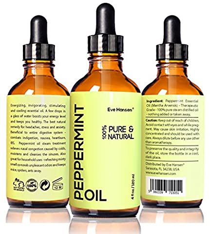 Top Rated Pure Peppermint Oil 4 Ounce: Therapeutic Essential Oil For Nausea Relief, Mice Repellent, Hair Growth Oil, Sinus Relief, Breath Freshener, and Natural Muscle Relaxer. Natural and Vegan!