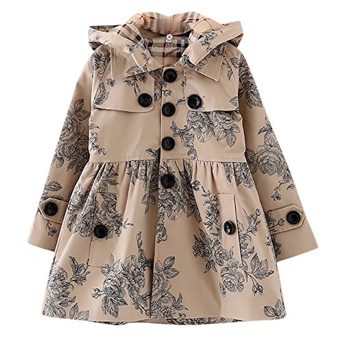 Long Sleeves Vintage Floral Print Chino Cotton Hooded Hoodie Trench Coat Outerwear Windbreaker for Little Girls & Big Girls, B-Khaki,Age 3T (3Years) = Tag 100