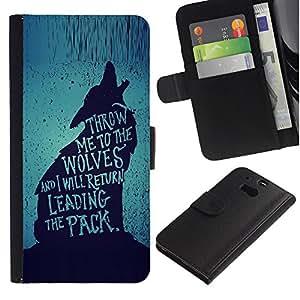A-type (Wolf Lead The Pack Brave Heroic Text) Colorida Impresión Funda Cuero Monedero Caja Bolsa Cubierta Caja Piel Card Slots Para HTC One M8