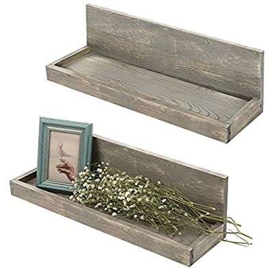 MyGift 24 inch Vintage Design Wall Mounted Floating Wood Shelves with Gray Finish, Set of 2 - Antique wall mounted L-shaped shelves with rustic distressed finish. Features a set of 2 floating shelves great for books, photos, plants and other decorative items. Shelves can be mounted to any wall with proper mounting hardware. - wall-shelves, living-room-furniture, living-room - 513fPYDQd6L. SS400  -