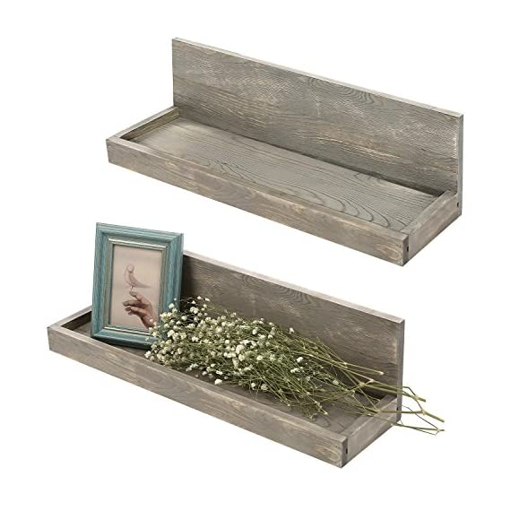 MyGift 24 inch Vintage Design Wall Mounted Floating Wood Shelves with Gray Finish, Set of 2 - Antique wall mounted L-shaped shelves with rustic distressed finish. Features a set of 2 floating shelves great for books, photos, plants and other decorative items. Shelves can be mounted to any wall with proper mounting hardware. - wall-shelves, living-room-furniture, living-room - 513fPYDQd6L. SS570  -