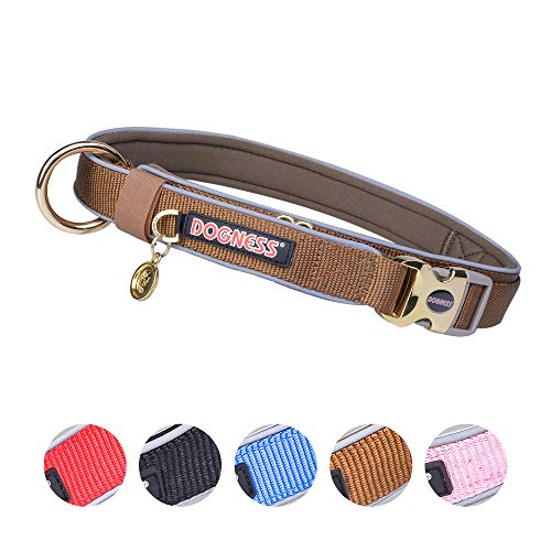 DOGNESS Classic Dog Collar, Comfort Soft Neoprene Padded Nylon, Ultra Safety Reflective Piping, 4 Sizes 5 Colors for Small Medium Large Dogs, Matching Leash Sold Separately (M/L: 17-23 inch, Brown)
