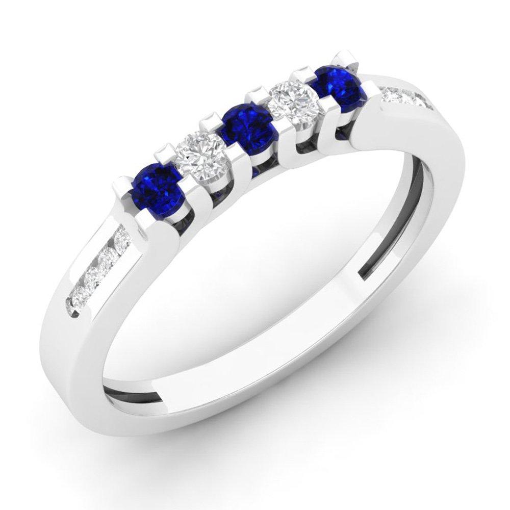 14K White Gold Round Blue Sapphire & White Diamond Ladies Wedding Stackable Guard Band (Size 7.5)
