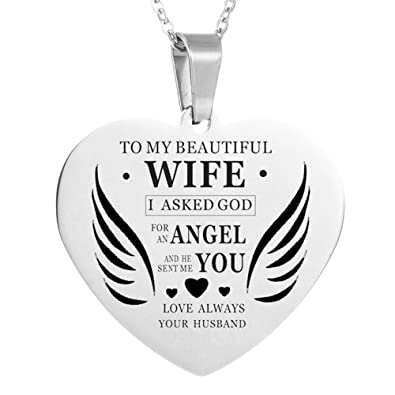 LF Womens Stainless Steel Personalized Wife Necklace Name Custom  Inspirational Sentiment Heart Dog Tag Pendant Necklace 147ca4c6c7