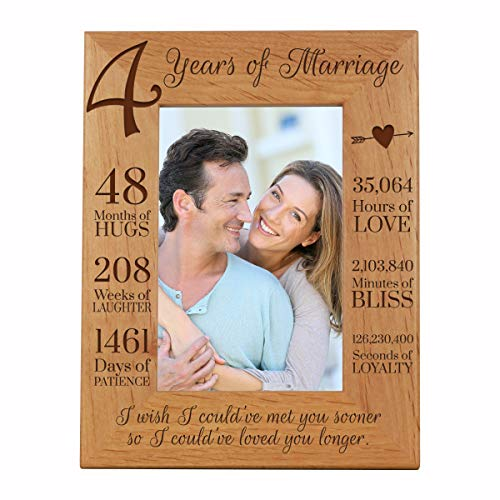LifeSong Milestones 4th Anniversary Picture Frame 4 Year of Marriage - Four Year Wedding Keepsake Gift for Parents Husband Wife him her Holds 4x6 Photo - I Wish I Could of met You Sooner (6.5x8.5)